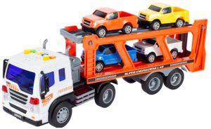 MalPlay Abschleppwagen Spielzeug   mit Licht & Sound   Transport-LKW Autotransporter mit 4 Stück Buntes Mini Autos   Länge 38 cm   ab 3 Jahren   Geschenk für Kinder