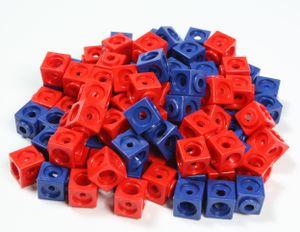 Dick-System, 100 Steckwürfel rot/blau, Kantenlänge 1,7 cm