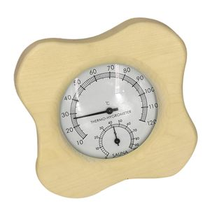 Hölzernes Sauna-Raum-Thermometer und Hygrometer-Blume geformt wie beschrieben