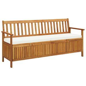 vidaXL Sitzbank mit Stauraum und Sitzpolster 170 cm Massivholz Akazie