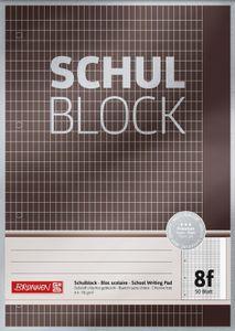BRUNNEN 1052608 Schulblock A4 Premium 50 Blatt, gelocht, Lineatur 8f