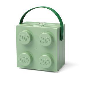LEGO Lunchbox mit Henkel, vier Noppen, sandgrün