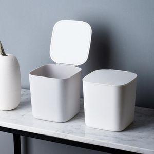 Mülltonne Mülleimer Miniatur Aufbewahrung Tischmülleimer Büro und Küchestabiler Papierkorb (Weiß)