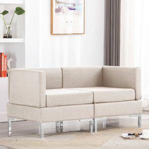 Eckcouch Schlaffunktion L-Form Couch Schlafsofa Modular-Ecksofas 2 Stk. mit Auflagen Stoff Creme