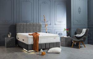Nevada Boxspringbett mit Bettkasten Anthrazit Stoff - 180 x 200 cm