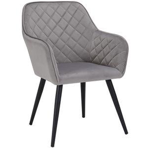 Duhome Esszimmerstuhl Armlehnstuhl Sessel Armsessel Stoff Samt Grau Metallbeine