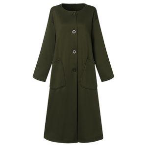 Damen Langarm Trench Jacke Winter Vintage Plain Oversize Freizeit Mantel Longtop, Armeegrün-XL