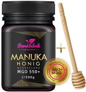 Manuka Honig | MGO 550+ (UMF 15+) | 500g | HALAL | Das ORIGINAL aus NEUSEELAND | HOCHAKTIV, PUR, ROH | 100% natürlich | INKL. GRATIS HONIGLÖFFEL aus Holz | PowerFabrik