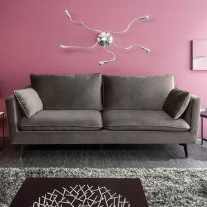 Design 3er Sofa FAMOUS 210cm silbergrau Samt Federkern inkl. Kissen 3-Sitzer Couch Loungesofa