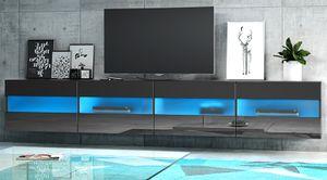 TV-Lowboard Rial in Hochglanz schwarz TV-Unterteil hängend XXL Board 200 x 35 cm mit LED Beleuchtung