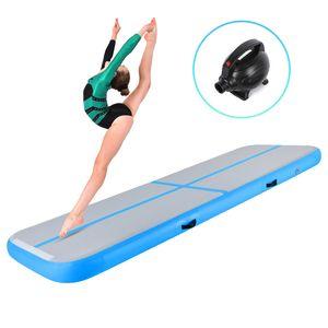 Crenex 300X100X20CM Aufblasbar Turnmatte Air Track Matte Gymnastikmatte Tumbling mit Elektropumpe blau