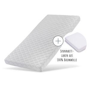 Kindermatratze 90x200cm mit Spannbettlaken und waschbarem Bezug   hochwertige Kaltschaum-Matratze für Kinderbett 200 x 90 cm