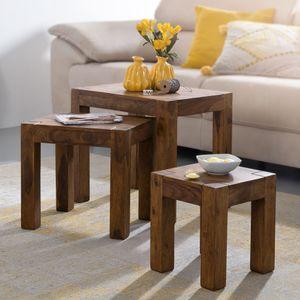 FineBuy 3er Set Satztisch Massiv-Holz Sheesham Wohnzimmer-Tisch Landhaus-Stil Beistelltisch dunkel-braun Naturholz