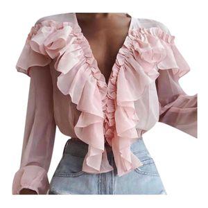 Damenmode Beliebte Langarm Chiffon Slim Pullover Loose Bluse Tops mit V-Ausschnitt Größe:M,Farbe:Rosa