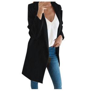 Frau künstliche Wolle elegante Mischung Mantel schlanke weibliche lange Mantel Oberbekleidung Jacke Größe:M,Farbe:Schwarz