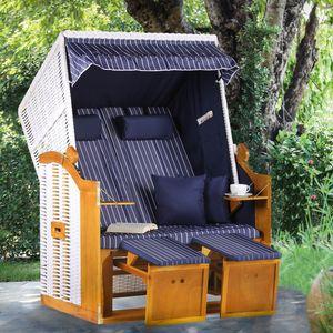 Komfortabler Strandkorb OSTSEE 120cm blau weiß inkl. Wechselbezug und Kissen wetterfest Strandstuhl