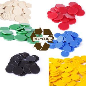 Einkaufswagenchips Einkaufschips viele Farben, einsetzbar als Spielgeld oder Spielmünzen aus Recyclingplastik, Farbe:brillantrot, Größe:100 Stück