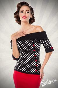 Retro Vintage Look Jersey Bluse in schwarz, weiß, rot Größe L = 40