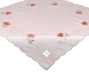 Betz Tischdecke Mitteldecke Stickerei mit Blumenmotiv Größe 85x85 cm Farbe beige