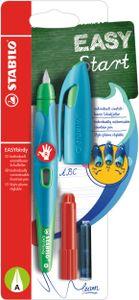 Ergonomischer Schulfüller für Rechtshänder mit Anfänger-Feder A - STABILO EASYbirdy in himmelblau/grasgrün - Einzelstift - Schreibfarbe blau (löschbar) - inklusive Patrone und Einstellwerkzeug