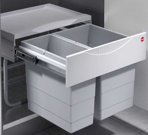 Hailo Mülleimer Küche, Einbau ab 50 cm Schrank, 2-fach Abfalleimer