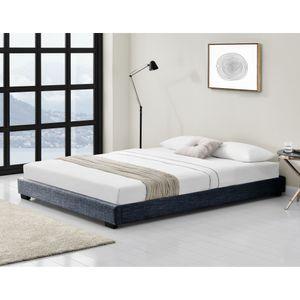 Polsterbett aus Leinen Bettgestell mit Lattenrost 140x200 cm Bett inkl. Lattenrahmen Doppelbett Jugendbett Dunkelgrau Corium