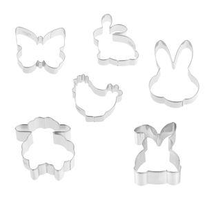 """Dr. Oetker Ausstecher-Set """"Goldiges Ostern"""", Keks- und Plätzchenausstecher Hase, Huhn, Schaf und Schmetterling (Farbe: Silber), Menge: 1 x 6er Set"""