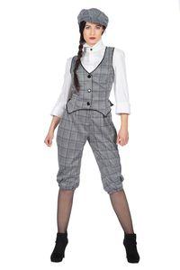 20er Jahre Peaky Blinders DAMEN GLENCHECK Anzug Knickerbocker Schwarz-Weiß, Größe:44