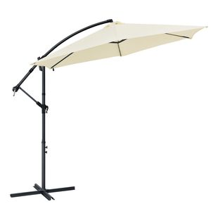 Juskys Ampelschirm Brazil 350 cm LED-Beleuchtung Solar & Kurbel – UV-Schutz wasserabweisend knickbar – Sonnenschirm Marktschirm – grau / creme