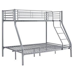 Juskys Hochbett Jonas – Etagenbett 90 / 140 x 190 cm mit Leiter & Rausfallschutz für 3 Personen bis max. 150 / 300 kg – Stockbett aus Metall in Silber