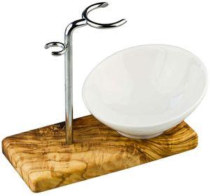 Rasierpinselhalter / Rasierpinsel Ständer aus Olivenholz Edelstahl und mit Porzellan Schale