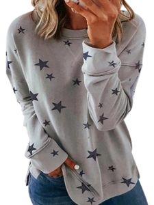 Frauen Plus Size Casual Sweatshirt Damen Star Print Pullover Pullover T-Shirt Tops Blusen,Farbe:Grau,Größe:XL