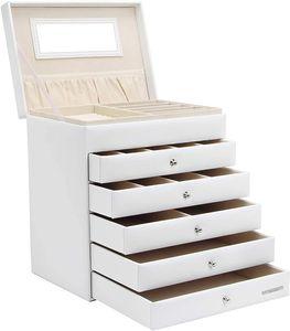 Yorbay Schmuckkoffer Seelux Serie Schmuckkasten mit Spiegel, 5 Schubladen (Weiß)