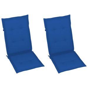 GartenstuhlAuflage Bankauflage Polsterauflage Sitzkissen Rückenkissenn 2 Stk. Königsblau 120x50x4 cm