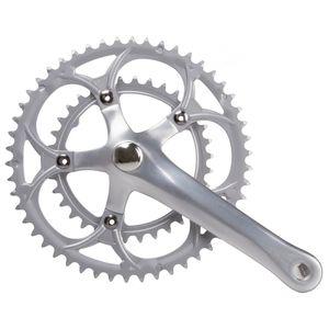 Messingschlager Fahrrad Kurbel Tretkurbel Kurbelgarnitur Rennrad 2x9 Fahrradkurbel 42-52 Zähne Aluminium, Zähne:42 - 52 Zähne