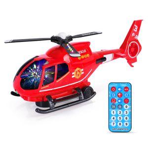 Hubschrauber Spielzeug mit attraktiven LED-Blinklichtern und Sounds | Spielzeugflugzeuge für Kinder im Alter von 3 - 12 Jahren (Rot)