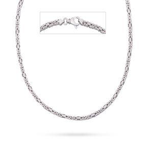 Valone Italienische Königskette rhodiniert 925 Sterling Silber vierkant Kette Collier 2,5 mm, 55 cm