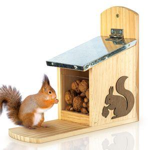 blumfeldt Futterstelle für Eichhörnchen Futterhaus Futterplatz Futterspeicher , Eichhörnchen Eichkatze , zum Aufhängen , unbehandeltes Kiefernholz , Metalldach , Plexiglas , Federdach , Wasserstopp