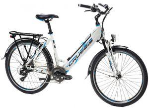 "26 Zoll CITY Fahrrad Elektrofahrrad E-Bike Modell e-City 1.13 Crussis 2021 13Ah  Rahmenhöhe 17""(43,2 cm) Weiß/Blau"