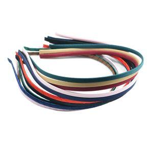 12x Gemischte Farbe Metall Stirnband Bedeckt Satin Haarband 5mm Für DIY Haarband