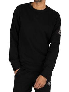 Calvin Klein Jeans Herren Monogramm-Ärmel-Abzeichen-Sweatshirt, Schwarz S