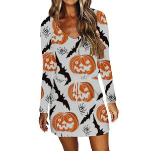 Damen Halloween Party V-Ausschnitt Minikleid Langarm T-Shirt Pullover