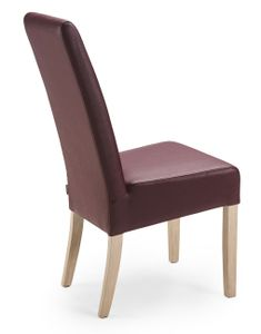 Esszimmerstuhl aus Leder mit Holzgestell Jana