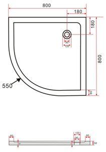 50 mm Duschtasse 80 x 80 cm Viertelkreis