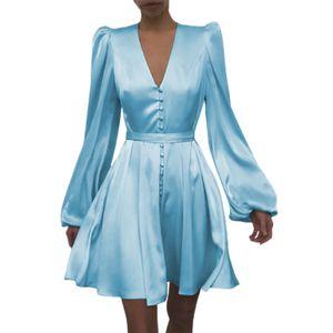 Kleid V-Ausschnitt Mid Waist Polyester Faser Frauen Puff Ärmel Kleid für die Hochzeit