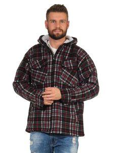 Herren Holzfäller Hemd Thermo Jacke Fleece mit Kapuze Schwarz 3XL