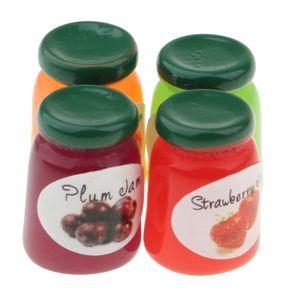 1:12 Puppenhaus Küche Lebensmittel - Miniatur Aprikosen / Feigen/ Erdbeer/ Pflaumen Marmelade Flaschen Essen Modell -4er/Set