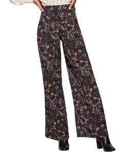 Pepe Jeans Freija Hose Palazzo-Hose modische Damen Stoff-Hose mit Print Schwarz, Größe:XS
