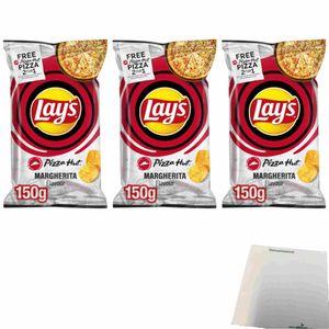 Lays Pizza Hut Margherita Flavour Kartoffelchips 3er Pack (3x150g Beutel) + usy Block