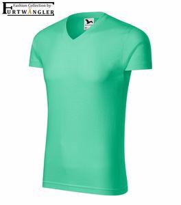 T-Shirt Minze 2XL Herrenshirt V-Ausschnitt Furtwängler Slim Fit V-Neck 180 g/m²